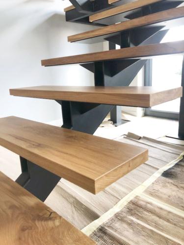 Designerskie schody metalowo drewniane - KIM Ogrodzenia Budzyń
